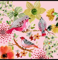 Jennifer Orkin Lewis : Birdies on a branch animation illustration art painting Home Deco animation art Birdies bold print wallpaper bathroom branch illustration Jennifer Lewis Orkin Painting Floral Pattern Wallpaper, Floral Pattern Vector, Motif Floral, Flower Wallpaper, Wallpaper Backgrounds, Ditsy Floral, Fabric Wallpaper, Floral Patterns, Chic Wallpaper