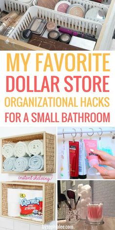 These are the best dollar tips I have seen!! If you have a small bathroom like me, you have to check these out!!