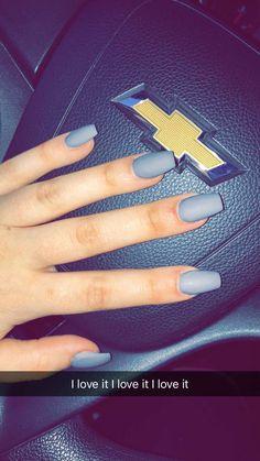 Acrylic nails grey with Matt finish