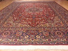 696 10x13 Esfahan Isfahan Persian Hand Knotted Wool Red Navy 10'5x13'5 Rug