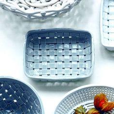 Woven Ceramic Basket Bowl