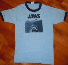 "RARE VINTAGE 1970's 70's 1975 ""JAWS"" STEPHEN SPIELBERG MOVIE PROMO RINGER SHIRT 