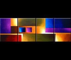multi panel colorful wall decor