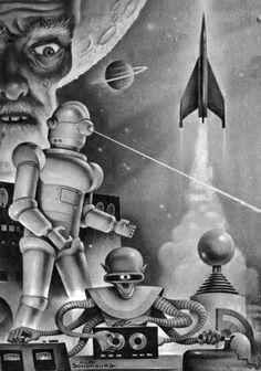 cupcakekatieb-eyecandy:  Alex Schomburg illustration, 1960 Winston Sci-Fi Magazine