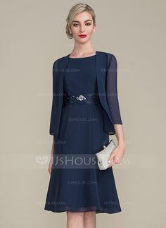 A-Line/Princess Scoop Neck Knee-Length Chiffon Mother of the Bride Dress With Ruffle Lace Beading Sequins (008102679) - Mother of the Bride Dresses - JJsHouse