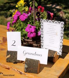 Card Holder Rustic Wedding Place Setting Reserved Seating Table Number Menu Stand. $4.00, via Etsy.