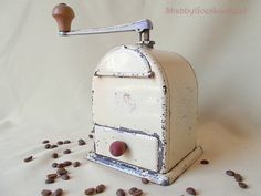 German 1930s white tin quality coffee grinder by ShabbyGoesLucky, €55.00