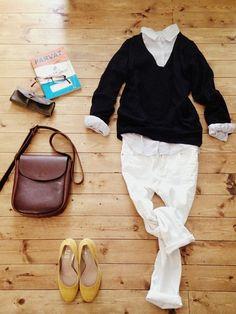 アクセサリー/atelier bloom 淡水パールちょうちょネックレス (3月5日発売) トップス/niko and… シャツ/UNIQLO パンツ/ZARA bag/affordance shoes/grande roue