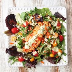 Skinny Grilled Buffalo Chicken Salad
