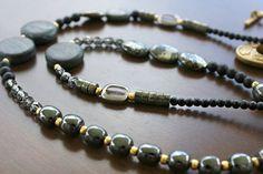 Wisdom  Long Boho Necklace Pyrite Onyx and by BohemianWhimSea, $78.00