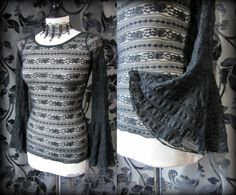 Gorgeous Goth Black Rose Lace Net Drape Sleeve Top 10 12 Romantic Witchy Gothic   THE WILTED ROSE GARDEN on eBay // Worldwide Shipping Available