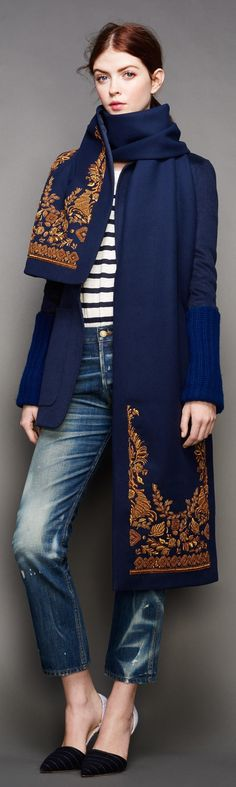 J.Crew coat w/matching scarf.  RTW Fall 2015 - Fall/ Winter 2015-2016 Color Trends: Reflecting Pond Navy Blue