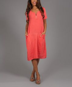 Another great find on #zulily! Coral Ruth Linen T-Shirt Dress by Anabelle #zulilyfinds