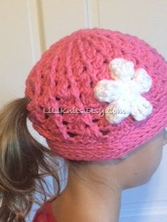 Girls Crochet Ponytail Beanie Hat Pink with White by LiLiKnits