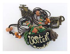 Necklace with Pendant for Woman Fimo: Cauldron's Witch Inside Halloween ~ Bijoux Fashion Jewelry Handmade: Amazon.co.uk: Jewellery