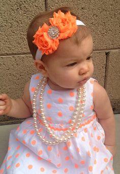15% OFF Baby Neon Orange and White Shabby Headband, neon headbands, neon orange, baby girl headbands, baby headbands, neon headbands, shabby on Etsy, $8.00