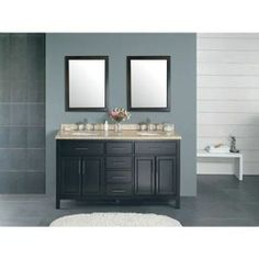 "60"" French Country Double Sink Bathroom Vanity Granite Countertop Free Shipping"
