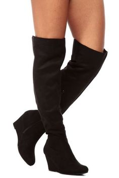 Black Faux Suede Over the Knee Wedge Boots $45.99