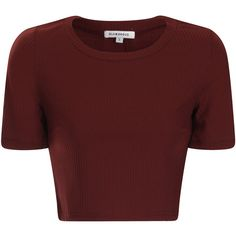 Burgundy Ribbed Short Sleeve Crop Top ($21) ❤ liked on Polyvore featuring tops, crop top, shirts, burgundy, crewneck shirt, shirts & tops, ribbed shirt, burgundy shirt and red top