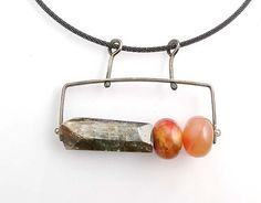 3 Climb with Apple Jade and Kyanite: Erica Stankwytch Bailey: Silver & Stone Necklace - Artful Home
