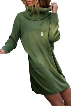 d98fe83c2d6 Army Green Ribbed Cowl Neck Lightweight Sweater Dress Cheap Dresses Online