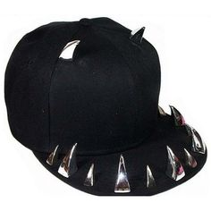 12a3f436048 Black studded spiked Snapback Hat