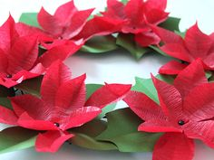 DIY Paper Poinsettia Wreath   Made + Remade