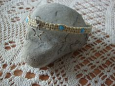 Turquoise Color Glass Bead Anklet on Cotton Cord | maddaisyjewelry - Jewelry on ArtFire