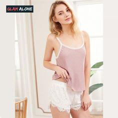 0bea09ed41 Sleeveless Pajamas Set for Pink Spaghetti Strap Rib Knit Cami Top and White  Lace Shorts Pajama Sets
