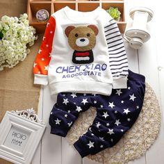 $7.98 (Buy here: https://alitems.com/g/1e8d114494ebda23ff8b16525dc3e8/?i=5&ulp=https%3A%2F%2Fwww.aliexpress.com%2Fitem%2F2015-New-cotton-autumn-children-baby-clothing-set-infant-boys-girls-Embroidery-bear-suits-shirt-pants%2F32332649129.html ) 2017 New cotton autumn children baby clothing set infant boys girls Embroidery bear suits shirt+pants sets for Roupas de bebe for just $7.98