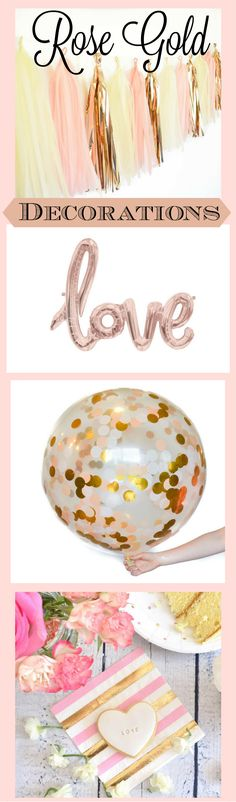 Rose gold party decorations for wedding, bridal shower, birthdays and more!