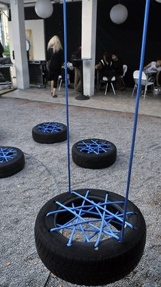 Diy Crafts - Unfortunately, old tires usually end up in the landfill. We believe that you wondered what to do with old tires. Diy Tire Swing, Tire Swings, Kids Outdoor Play, Backyard For Kids, Tire Seats, Tire Chairs, Tire Playground, Tire Furniture, Recycled Furniture