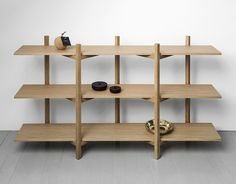 A zig-zag stand allows shelved to simply be assembled rather than screwed in place. Screwless Zig Zag shelves by Studio deFORM for Hem.