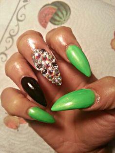 Nail swag dope nails I.g. @nailsmadeinkarea stiletto nails