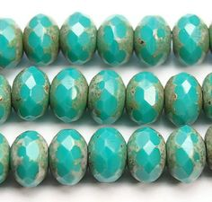 Czech Glass Beads Turquoise Green Picasso by BeadGirlzBoutique, $4.95