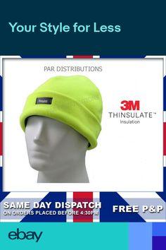 65c0cfdd1da Thermal Beanie Bob Cap 3M Thinsulate Outdoor Workwear Winter Mens Hi Vis  Fleece