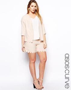 ASOS Curve Scalloped Hem Plus Size Shorts Suit