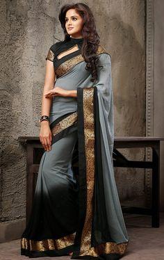 Ravishing Black and Gray Color Wedding Saree