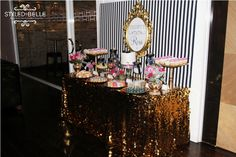 gold tablecloth + black and white stripes...bachelorette party/ bridal shower?