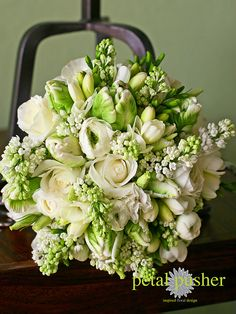 Parrot tulips, white lilac, white roses, ranunculus, freesia, lisianthus, Petal Pusher