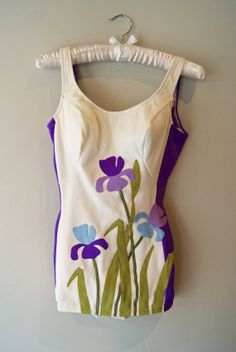 Vintage 60s DeWeese Swimsuit With Floral by xtabayvintage on Etsy, $148.00