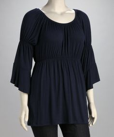 91ec31d0935 Another great find on  zulily! Navy Babydoll Top - Plus  zulilyfinds  Business Casual