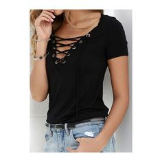 Solid Black Lace Up T Shirt ($16) ❤ liked on Polyvore featuring tops, black, laced up top, patterned tops, collar top, lace front top and v neck tops