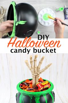 Paint this glow in the dark Halloween candy bucket and scare all of the trick or treaters this year! They will love getting candy out of this spooky treat container! #halloween #glowinthedark #trickortreat #halloweencandy #halloweencrafts #diy #crafts #easycrafts #quickcrafts #candybucket #skeleton #paint #painting