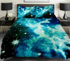 Galaxy Quilt Cover Galaxy Duvet Cover Galaxy Sheets Space Sheets Outer Space Bedding Set Bedspread with 2 Matching Pillow Covers (QUEEN) - Living room and Decorating Star Bedding, Teen Bedding, Queen Bedding Sets, Luxury Bedding Sets, Comforter Sets, King Comforter, Queen Duvet, Blue Bedding, 3d Bedding