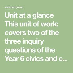 Unit at a glance This unit of work: covers two of the three inquiry questions of the Year 6 civics and citizenship curriculum runs for approximately 16 hours, but can be modified to. Formal Assessment, Curriculum, Homeschool, List Of Resources, Education Office, Year 6, Background Information, At A Glance, Citizenship