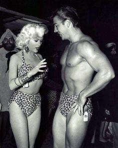 Jayne Mansfield and husband, Mickey Hargitay, as Tarzan and Jane at a Halloween party, October 27th, 1956.