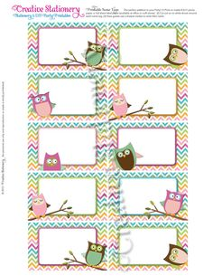 Owl Baby Shower Name Tags Pink Orange Green by CreativeStationery, $3.00