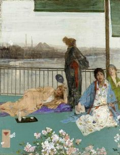 James McNeill Whistler - Variations in Flesh Colour and Green: The Balcony 1870 at Smithsonian Freer Gallery of Art Washington DC James Mcneill Whistler, Cara Fresca, Green Canvas Art, Freer Gallery, Art Gallery, Yukata, American Impressionism, Impressionist Art, Oil Painting Reproductions