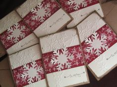 Snowflake Christmas Card Set of 6  Christmas in July by JennyPie5, $18.00